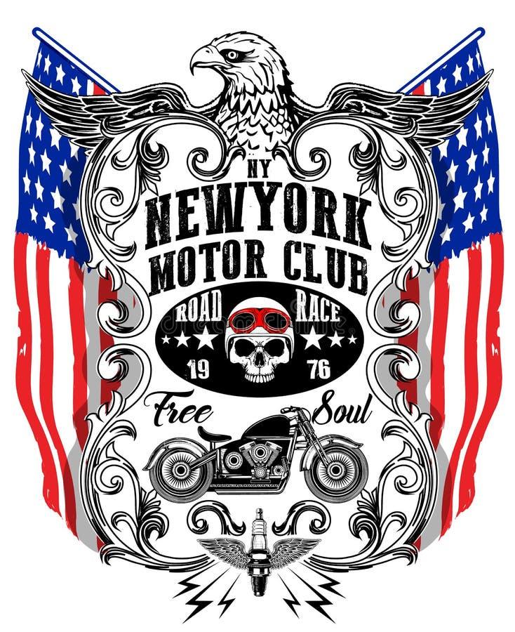 Diagram för amerikanEagle Linework Vector Motorcycle T-tröja royaltyfri illustrationer