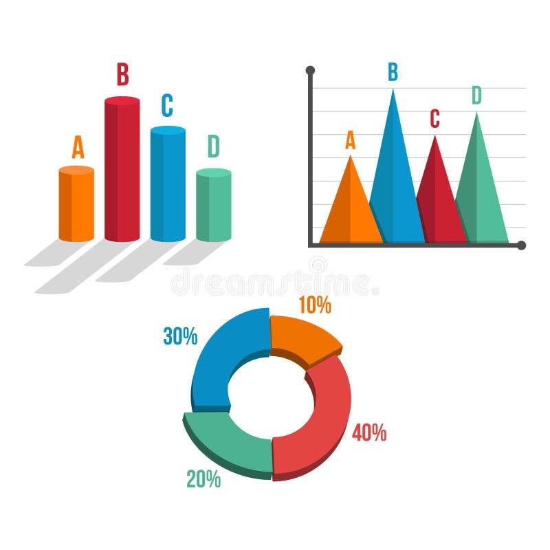 diagram för data som 3D är infographic för affärskreditinstitut royaltyfri illustrationer