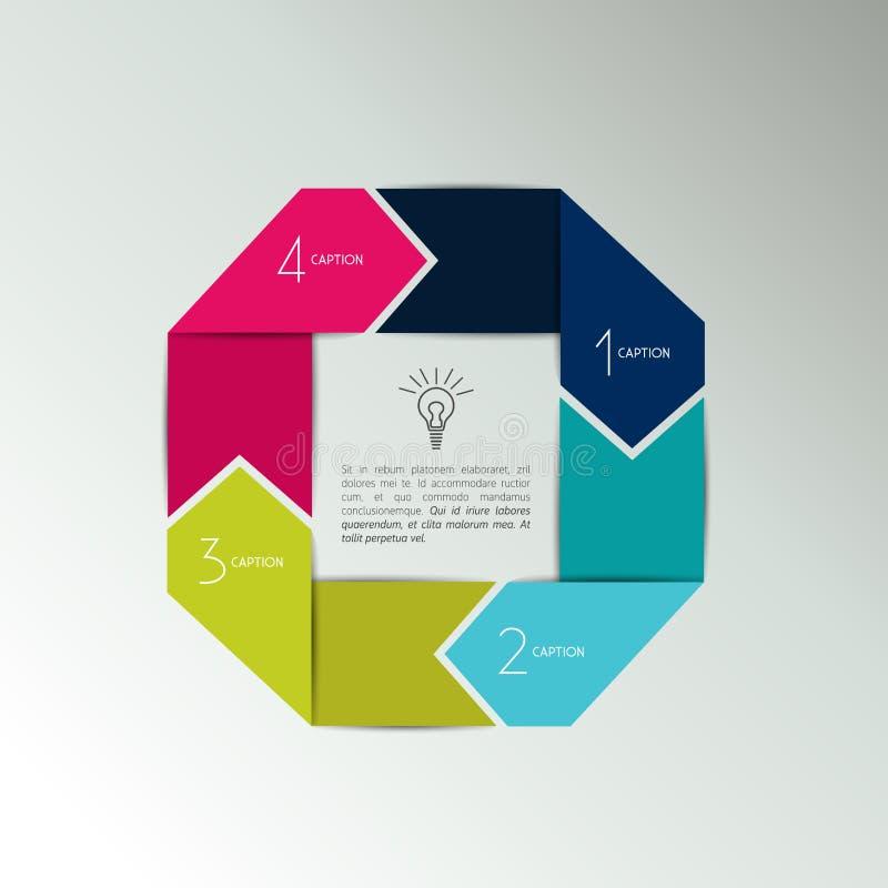 diagram för 4 del, intrig Steg-för-steg presentation för pil Förbindelsetextbubblor royaltyfri illustrationer