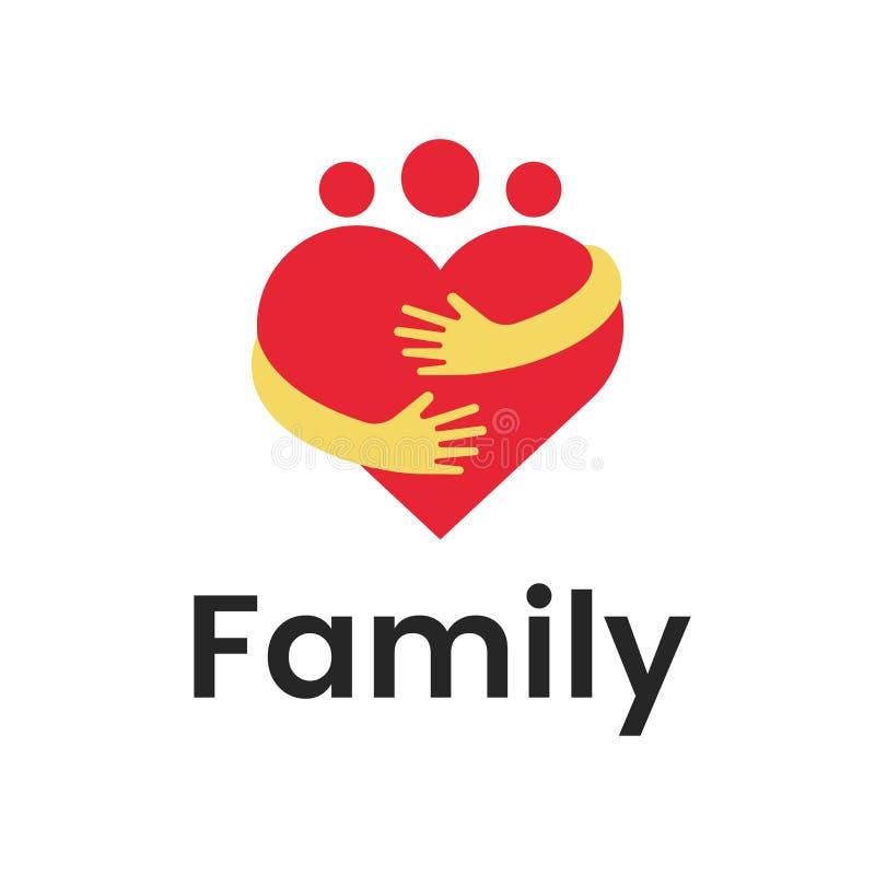 Diagram för design för logo för kram för hjärta för folkgruppfamilj Abstrakt mall för familjvektorlogo vektor illustrationer