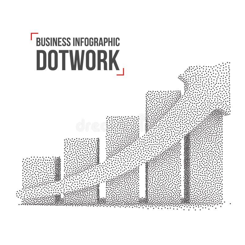 Diagram för graf för Dotwork rastrerat vektorstång stock illustrationer