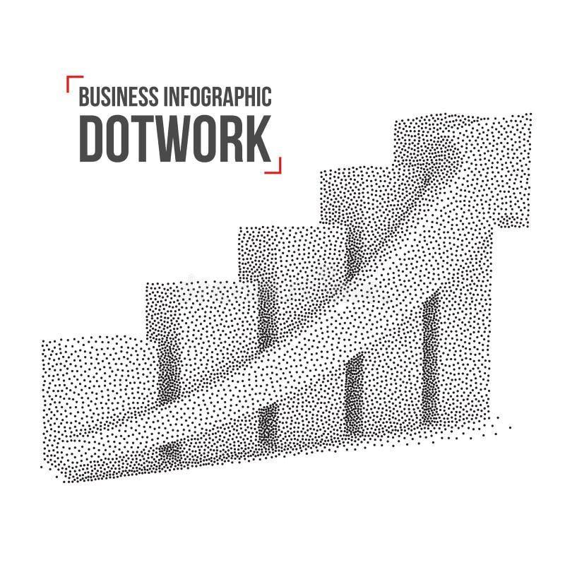 Diagram för graf för Dotwork rastrerat vektorstång vektor illustrationer