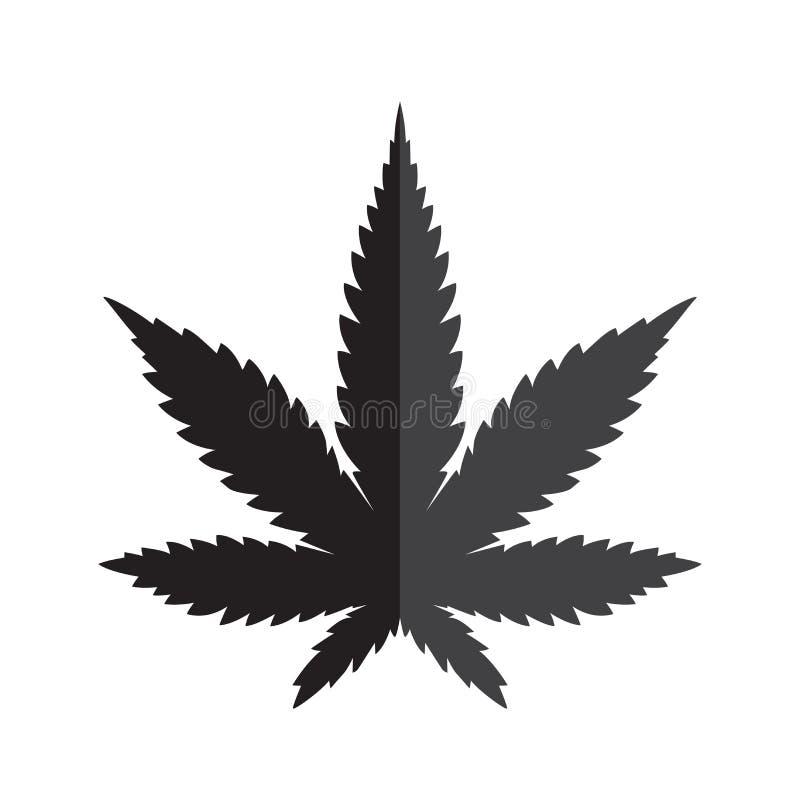 Diagram för illustration för konst för gem för symbol för logo för ogräs för marijuanacannabisblad stock illustrationer