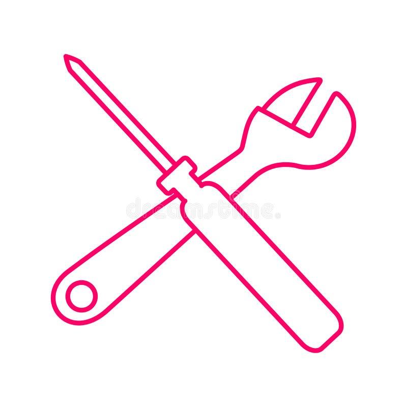 Diagram för illustration för vektor för för översiktsskiftnyckel och skruvmejsel argt stock illustrationer
