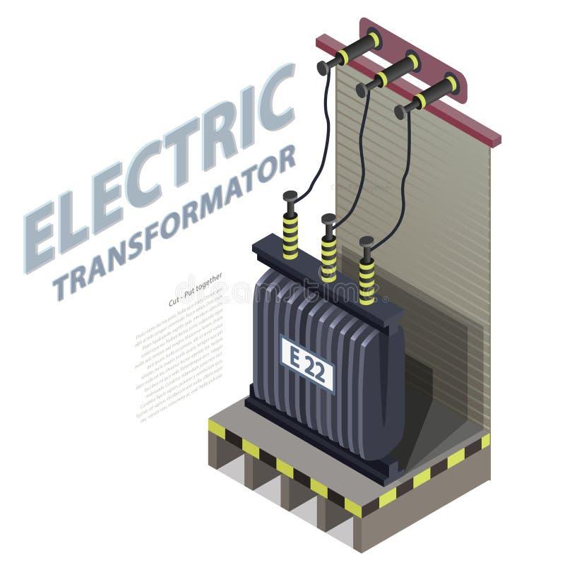 Diagram för information om byggnad för elektrisk transformator isometriskt Hög-spänning kraftverk stock illustrationer