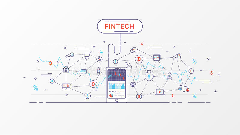 Diagram för information om Fintech och Blockchain teknologi stock illustrationer