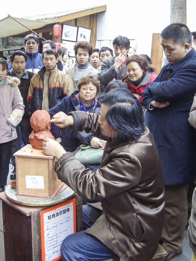 Diagram för konstnärdanandelera i kuanzhaigränden, chengdu, porslin arkivfoto