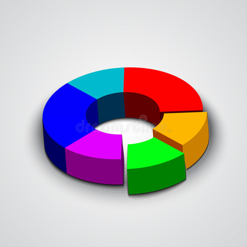 Diagram för paj för affär för vektorabstrakt begrepprunda 3d stock illustrationer
