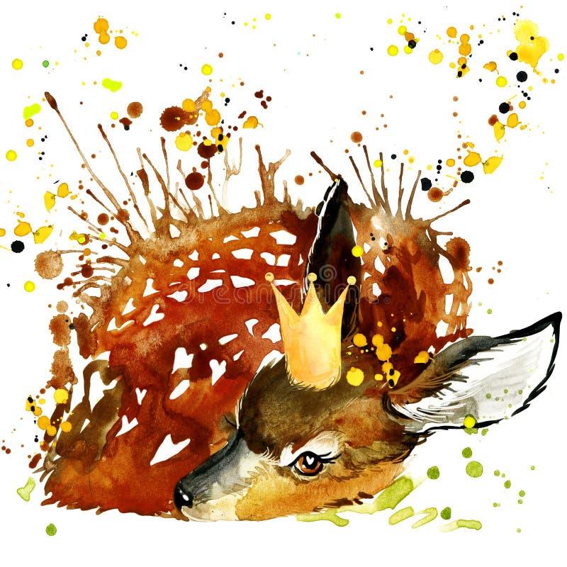 Diagram för prinshjortT-tröja, hjortillustration med färgstänkwate vektor illustrationer