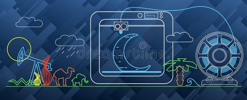 diagram för printing 3d på skrivaren 3d vektor illustrationer