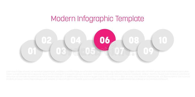 diagram för process för 10 moment modernt infographic Grafmall av cirklar Affärsidé av 10 moment eller alternativ modernt stock illustrationer