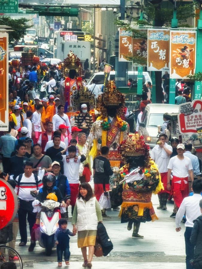 Diagram för procession Taiwan Taipei för religiös festival royaltyfria bilder