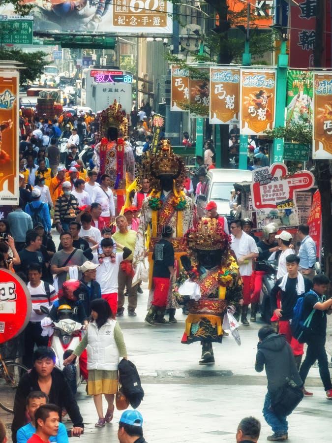 Diagram för procession Taiwan Taipei för religiös festival arkivfoton