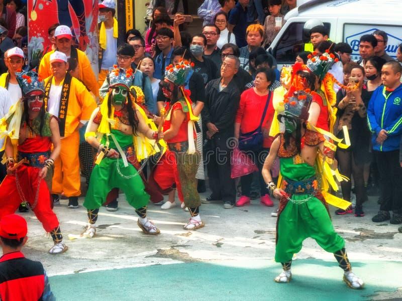 Diagram för procession Taiwan Taipei för religiös festival arkivfoto