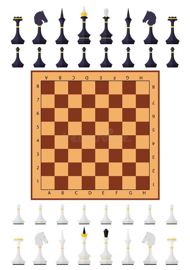 Diagram för schack för schacktabelllek stock illustrationer