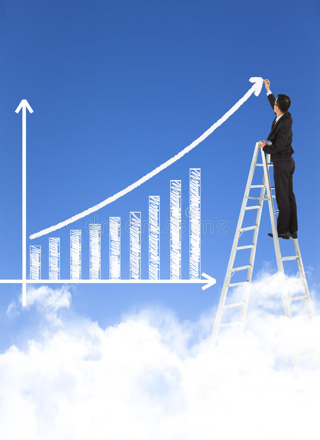 Diagram för stång för tillväxt för handstil för affärsman arkivfoton