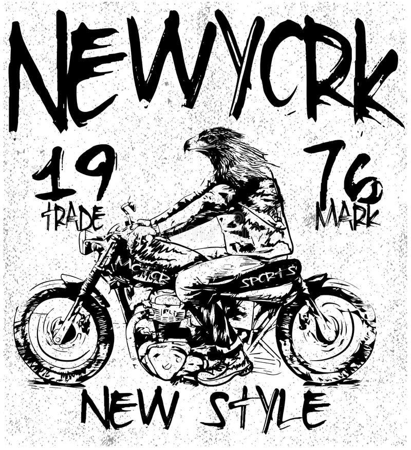Diagram för tappningmotorcykelT-tröja stock illustrationer