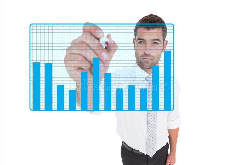 Diagram för teckning för affärsman på skärmen mot vit bakgrund arkivbild