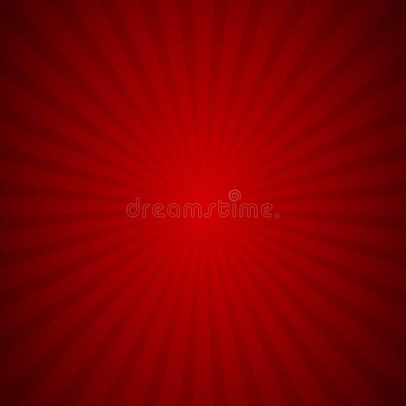 Diagram för textur för stråle för Sunburstbakgrund rött, vektor royaltyfri illustrationer