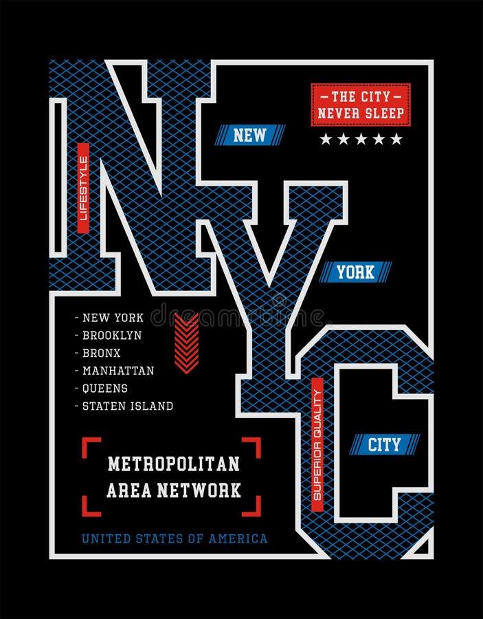 Diagram för typografidesignNew York City T-tröja vektor illustrationer