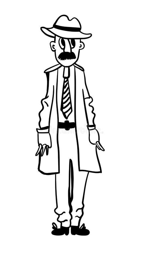 Diagram för vuxen man i en kappa med fack som är fulla av hålkomikerillustration vektor illustrationer