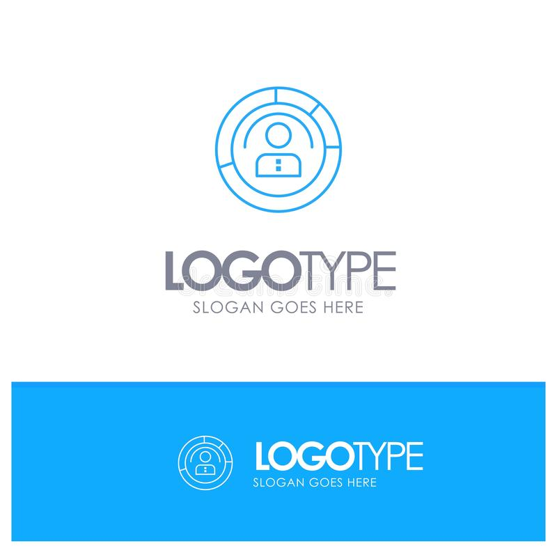 Diagram, Features, Human, People, Personal, Profile, User Blue outLine Logo with place for tagline vector illustration