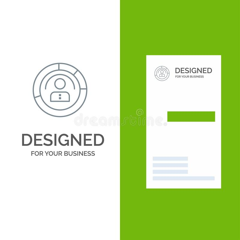 Diagram, Features, Human, People, Personal, Profile, User Grey Logo Design and Business Card Template stock illustration