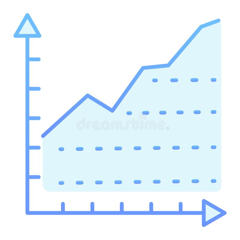 Diagram flat icon. Growth graph blue icons in trendy flat style. Chart with arrows gradient style design, designed for stock illustration