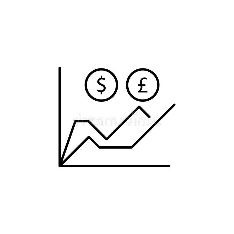 Diagram graf, dollar, pundsymbol Beståndsdel av finansillustrationen Tecknet och symbolsymbolen kan användas för rengöringsduken, stock illustrationer