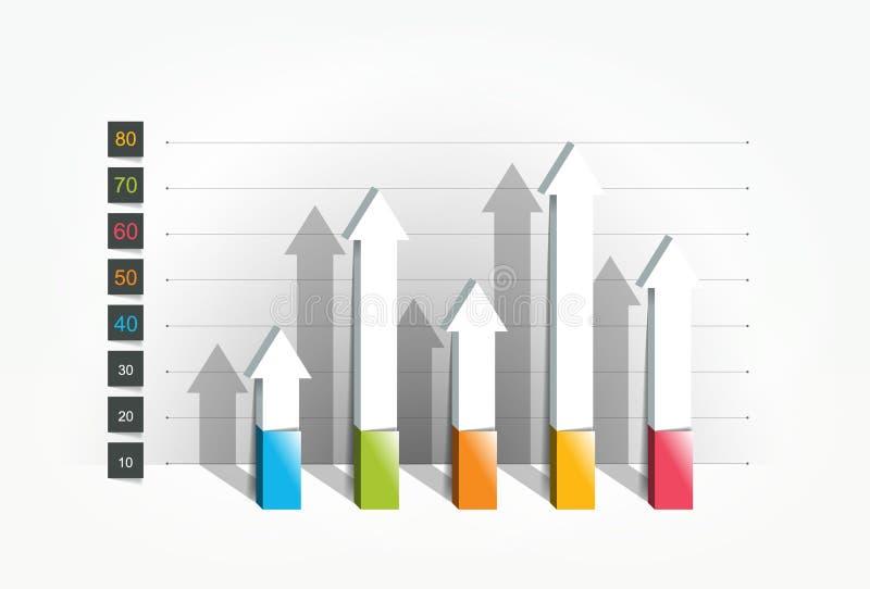 Diagram graf, stil 3D stock illustrationer