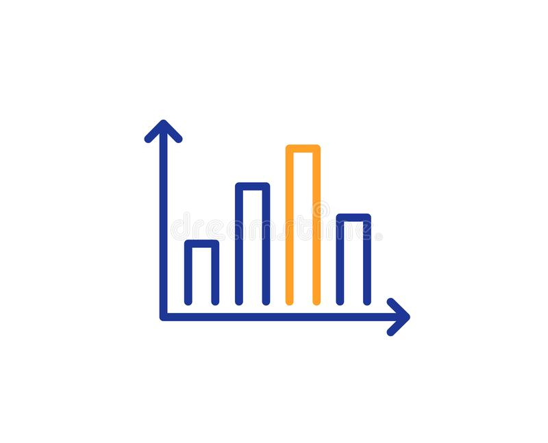 Diagram graph line icon. Column chart sign. Vector royalty free illustration