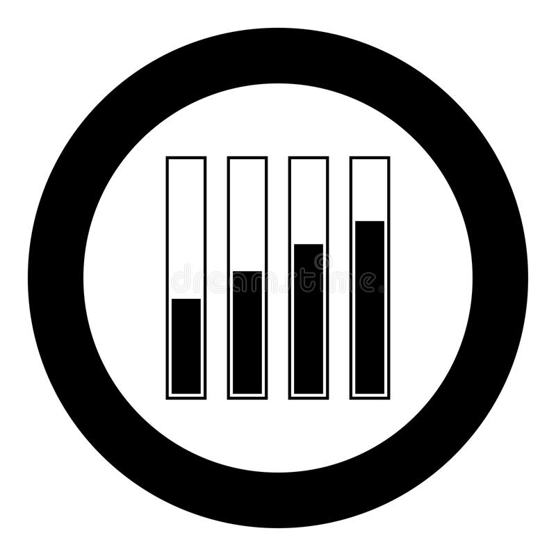 Diagram growth black icon in circle vector illustration isolated . royalty free illustration