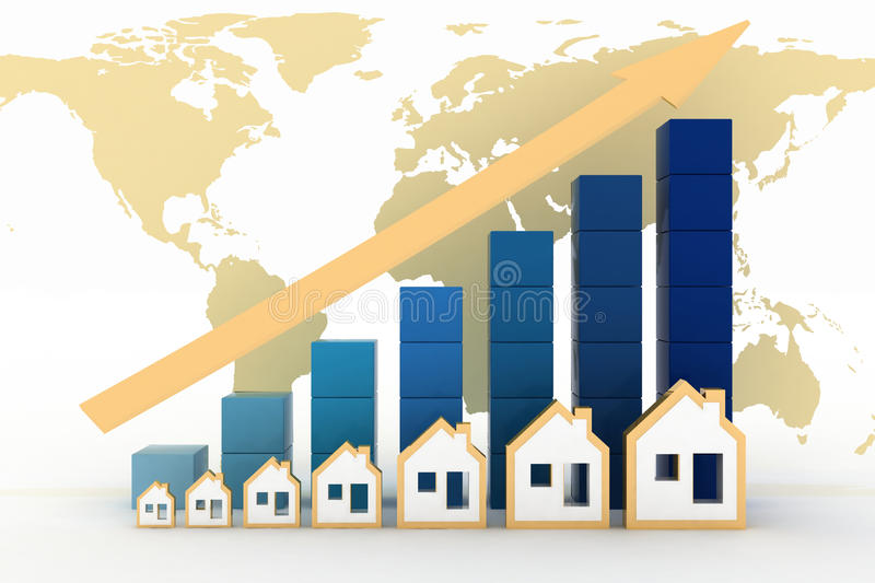 Diagram of growth in real estate prices in the world. Render illustration on the map background vector illustration