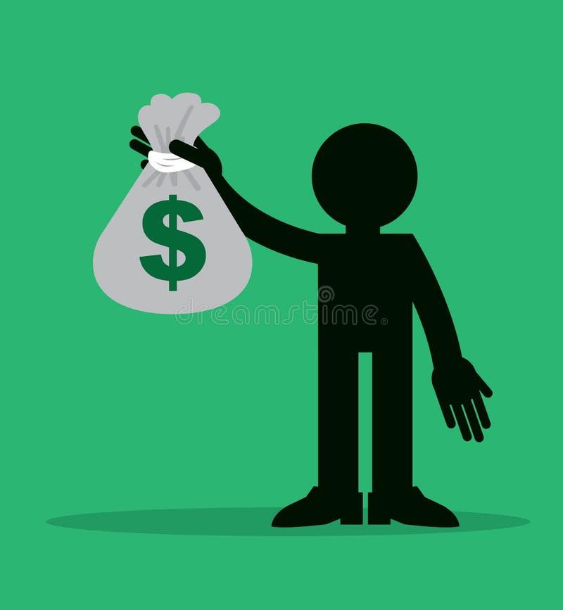 Diagram hållande pengarpåse royaltyfri illustrationer