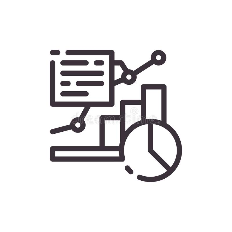 Diagram and icon of the growth chart. An example of a financial report. Linear icon royalty free illustration