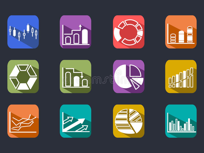 Diagram Icons Set with long shadow vector illustration