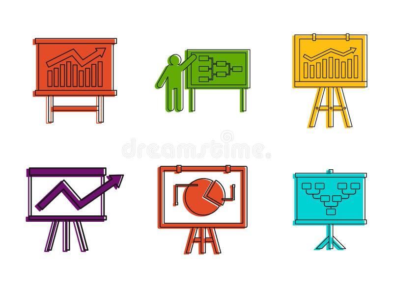 Diagram ikony set, koloru konturu styl ilustracja wektor