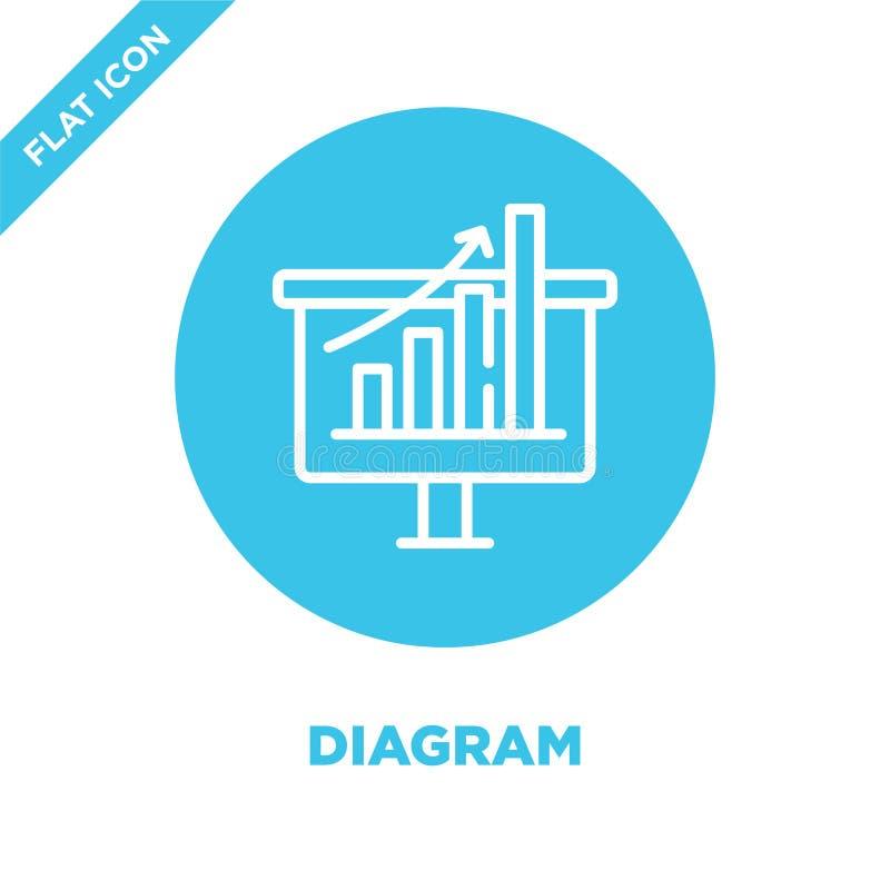 Diagram ikony wektor Cienieje kreskowego diagrama konturu ikony wektoru ilustrację diagrama symbol dla używa na sieci i wiszącej  royalty ilustracja