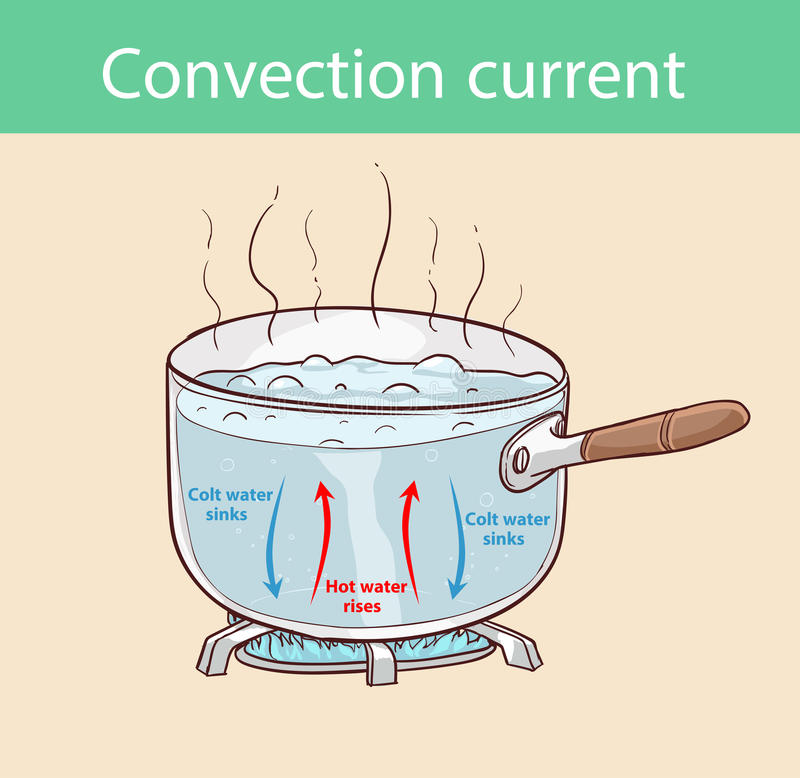 Diagram illustrating how heat is transferred in a boiling pot.  royalty free illustration
