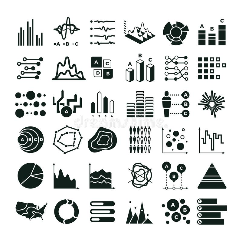 Diagram and infographic vector icons. Business data chart and graph symbols. Illustration of graph and data, diagram and chart information royalty free illustration