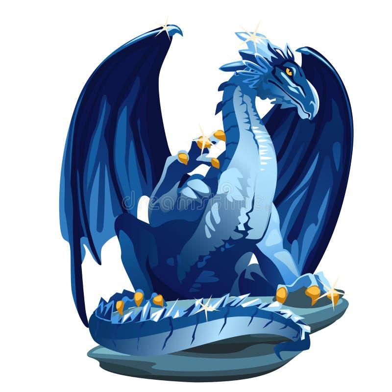 Diagram iskall blå drake med guld- jordluckrare stock illustrationer