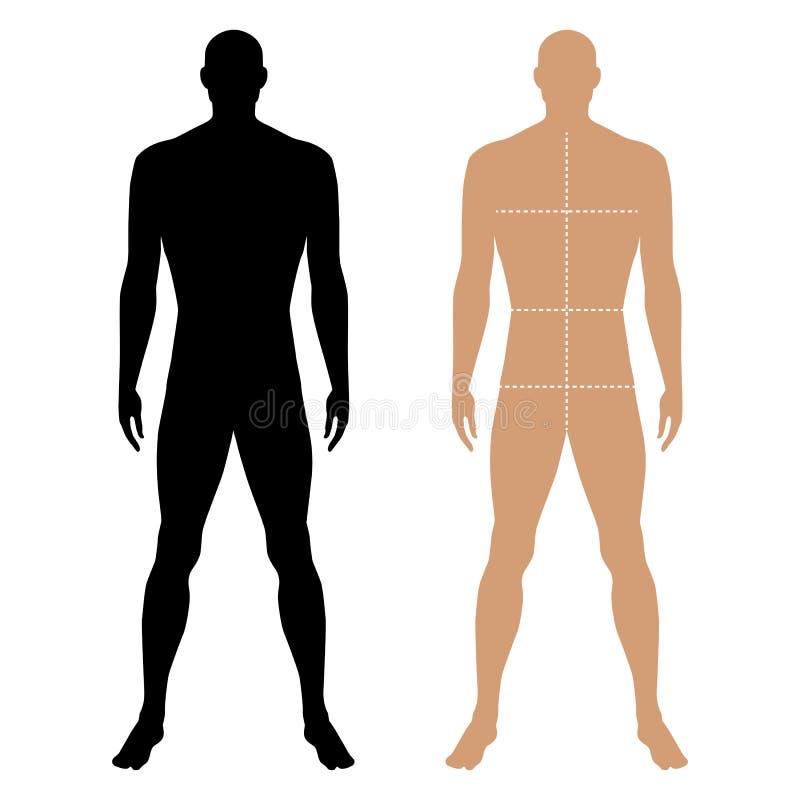Diagram kontur för mall för modeman fast med den tydliga kroppen stock illustrationer