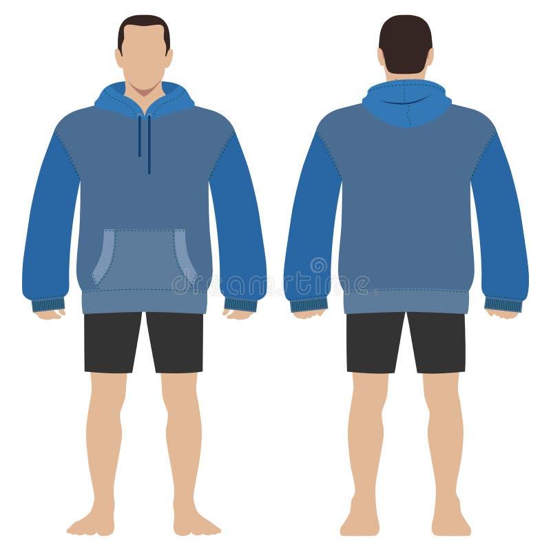 Diagram kontur för mall för längd för kropp för Hoodiemodeman fullt i kortslutningar vektor illustrationer