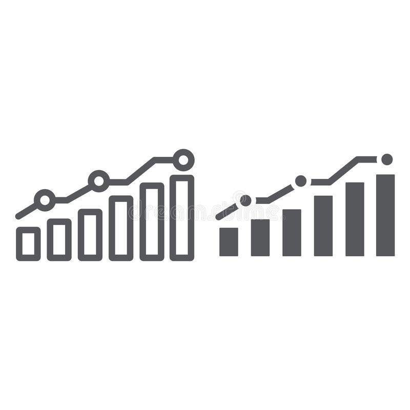 Diagram line and glyph icon, report and graph, growth chart sign, vector graphics, a linear pattern on a white. Background, eps 10 vector illustration