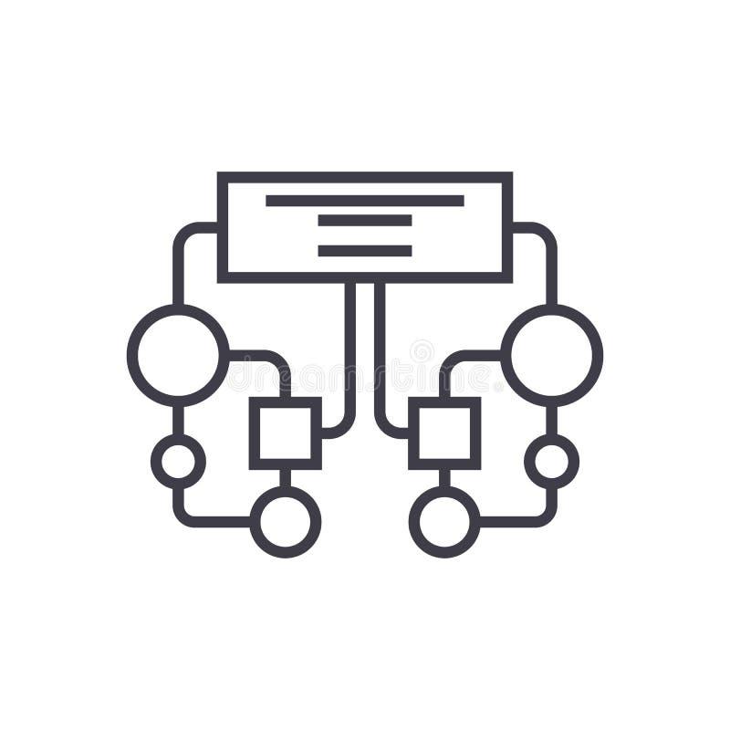 Diagram, linea l'icona, il segno, illustrazione di vettore del blocco su fondo, colpi editabili royalty illustrazione gratis