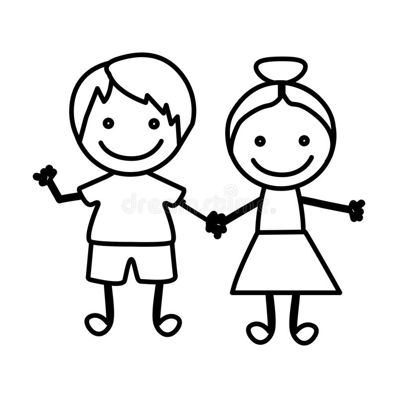 diagram lyckliga barn med symbolen för hand tillsammans royaltyfri illustrationer