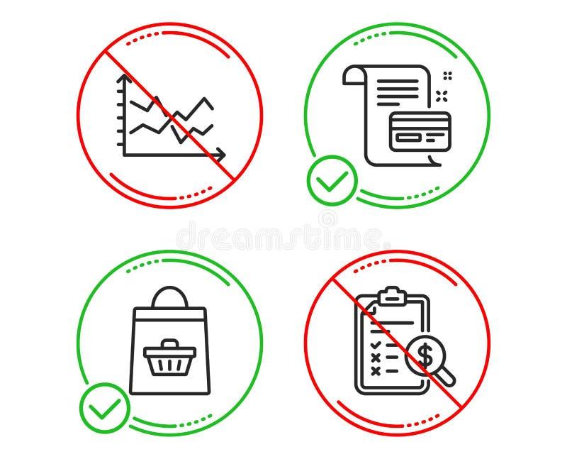 Diagram mapa, Online kupienie i zap?at karciane ikony ustawia?, Rozlicza? raportu znaka wektor ilustracja wektor