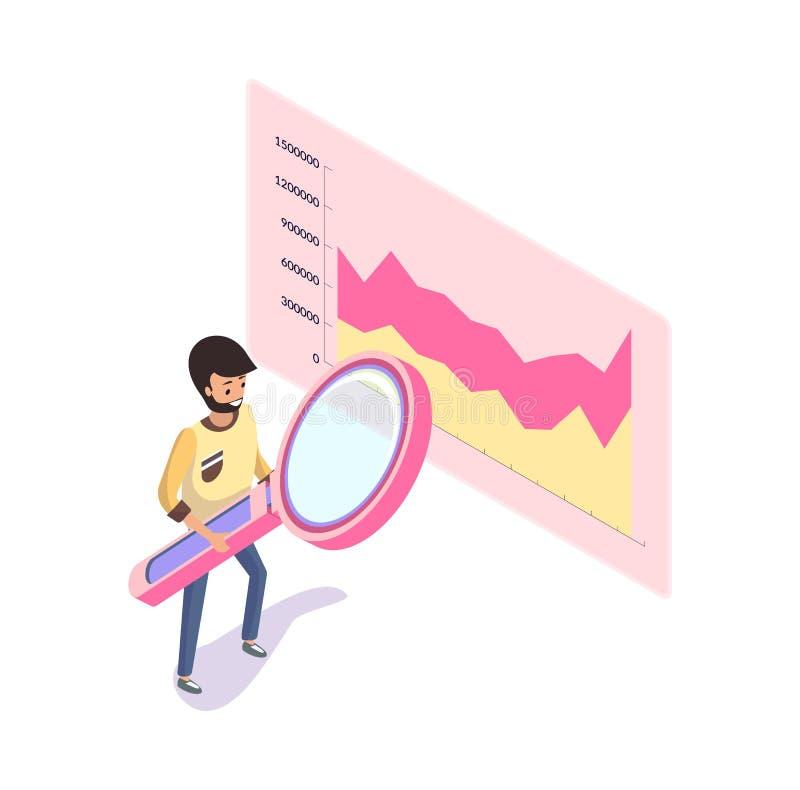 Diagram med horisontalskalan på rektangelvektor stock illustrationer
