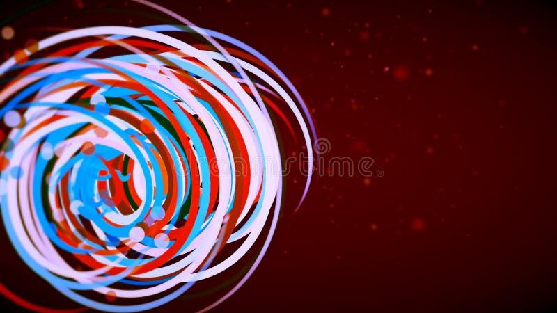 Diagram med kulör spiral på röd bakgrund royaltyfri illustrationer