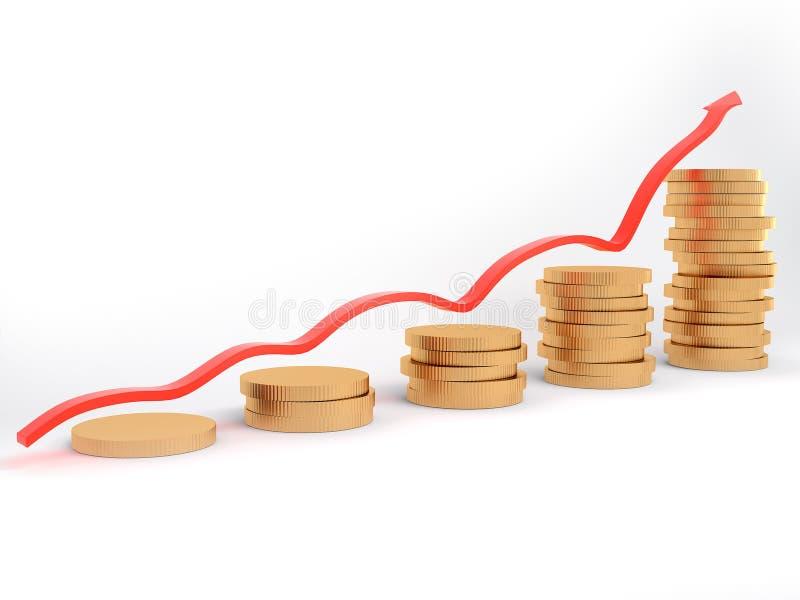 Diagram met een grafiek en een geld vector illustratie